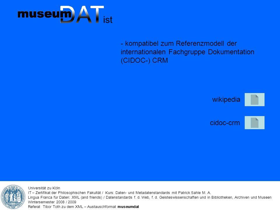 Universität zu Köln IT – Zertifikat der Philosophischen Fakultät / Kurs: Daten- und Metadatenstandards mit Patrick Sahle M.