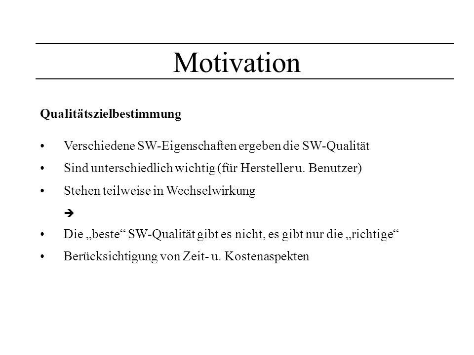 Motivation Qualitätszielbestimmung Verschiedene SW-Eigenschaften ergeben die SW-Qualität Sind unterschiedlich wichtig (für Hersteller u. Benutzer) Ste