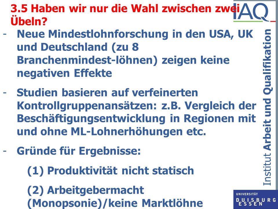 Institut Arbeit und Qualifikation 3.5 Haben wir nur die Wahl zwischen zwei Übeln? -Neue Mindestlohnforschung in den USA, UK und Deutschland (zu 8 Bran