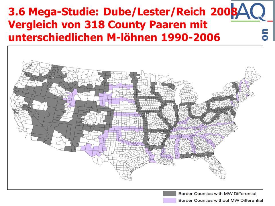 Institut Arbeit und Qualifikation 3.6 Mega-Studie: Dube/Lester/Reich 2008 Vergleich von 318 County Paaren mit unterschiedlichen M-löhnen 1990-2006