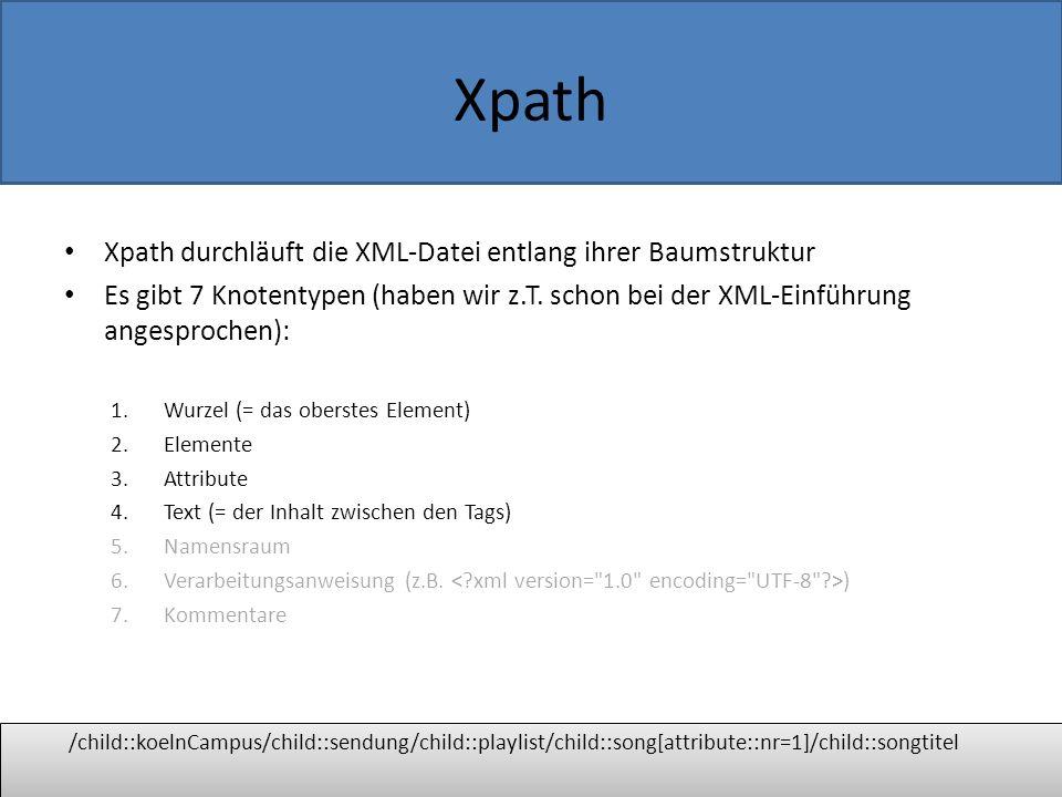 Xpath Genereller Aufbau eines Xpath-Ausdrucks Einer oder mehrere Lokalisierungsschritte (location steps), durch / voneinander getrennt.