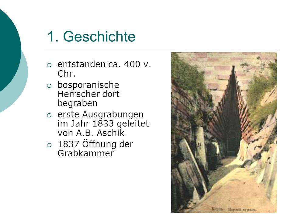 1. Geschichte entstanden ca. 400 v. Chr. bosporanische Herrscher dort begraben erste Ausgrabungen im Jahr 1833 geleitet von A.B. Aschik 1837 Öffnung d