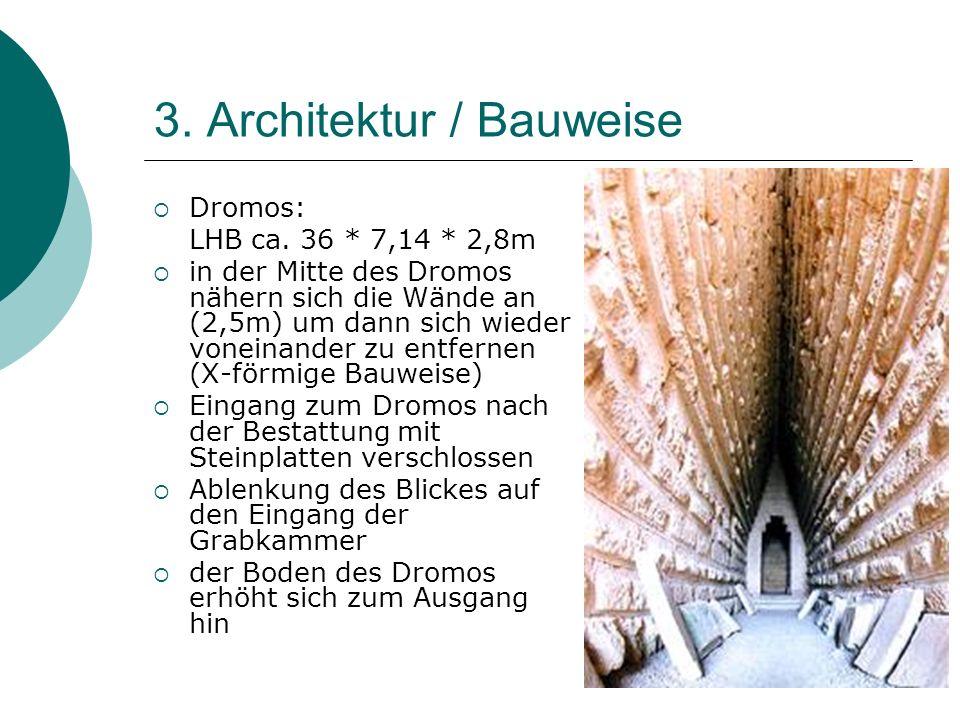 3. Architektur / Bauweise Dromos: LHB ca. 36 * 7,14 * 2,8m in der Mitte des Dromos nähern sich die Wände an (2,5m) um dann sich wieder voneinander zu