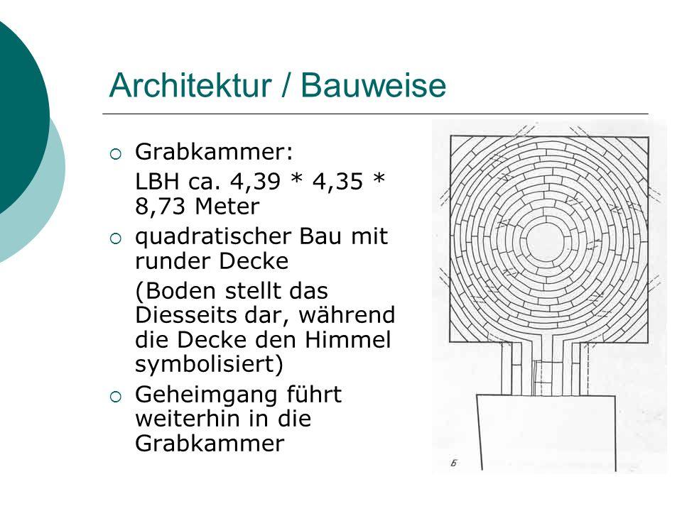 Architektur / Bauweise Grabkammer: LBH ca. 4,39 * 4,35 * 8,73 Meter quadratischer Bau mit runder Decke (Boden stellt das Diesseits dar, während die De
