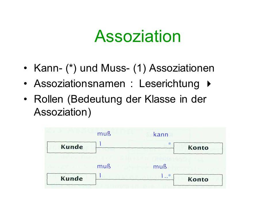 Assoziation Restriktionen (constraints): frei formulierbar or, subset, ordered, frozen,....