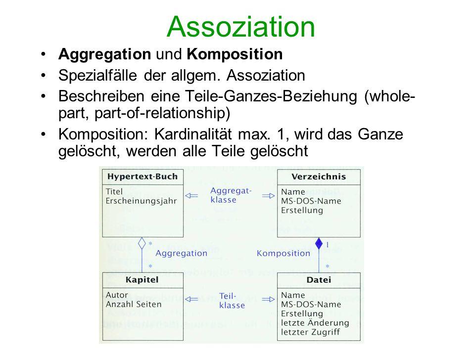 Vererbung (Generalisierung) Beziehung zwischen einer allgemeinen Basisklasse und einer spezialisierteren Klasse Fasst gemeinsame Eigenschaften und Verhalten zusammen Klassenhierarchiebildung: Oberklasse (superclass) - Unterklasse(subclass)