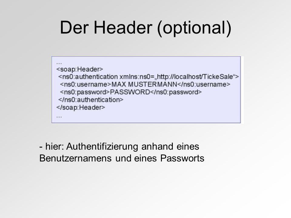 Der Header (optional) - hier: Authentifizierung anhand eines Benutzernamens und eines Passworts