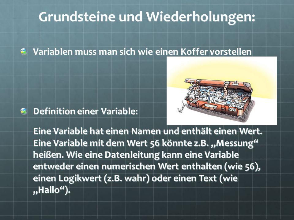 Grundsteine und Wiederholungen: Variablen muss man sich wie einen Koffer vorstellen Definition einer Variable: Eine Variable hat einen Namen und enthält einen Wert.