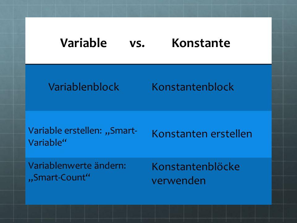 Ein Programm mit einer Variable erstellen: Smart-Variable: