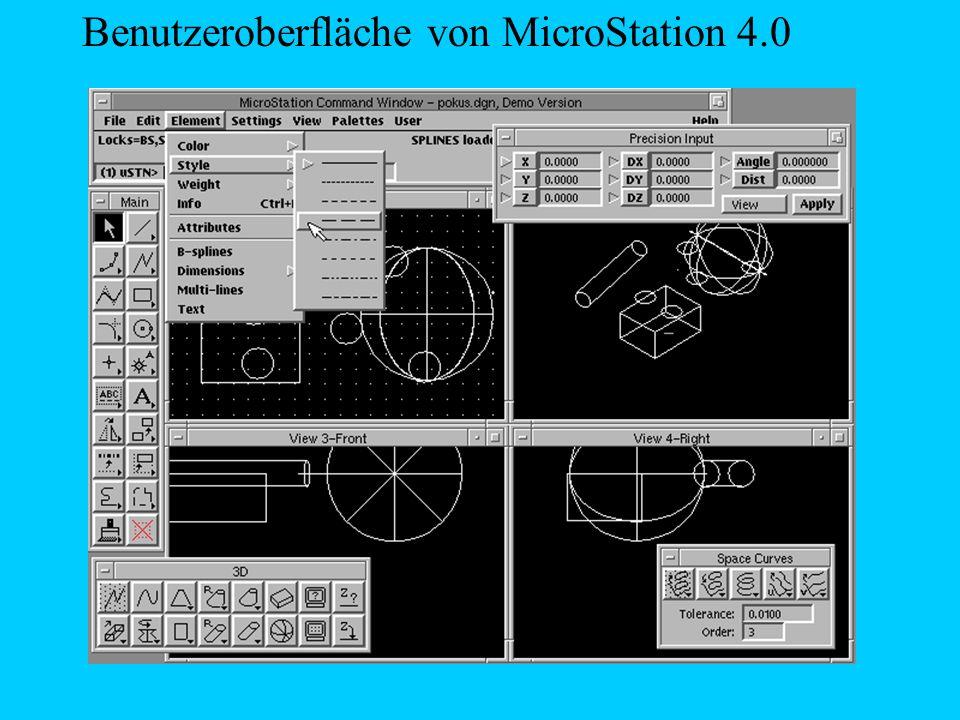 Nachteil von MicroStation: MicroStation erlaubt es nur Oberflächen zu modelieren.