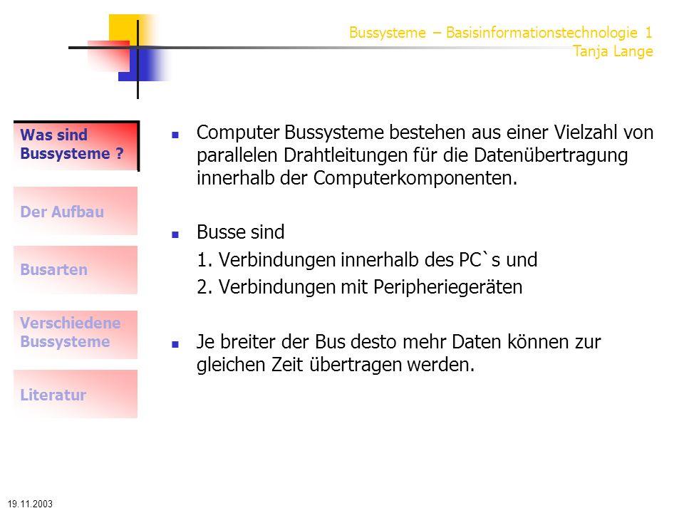 19.11.2003 Bussysteme – Basisinformationstechnologie 1 Tanja Lange Was sind Bussysteme .