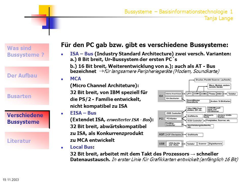 19.11.2003 Bussysteme – Basisinformationstechnologie 1 Tanja Lange Die drei wichtigsten Local-Busse: VESA Local Bus (Video Electronics Standards Association), auch VL-Bus: 32 Bit breit, direkten Zugriff auf Arbeitsspeicher, dabei so schnell wie Prozessorbus, der VLB wird immer mit anderen Systemen kombiniert, z.B.