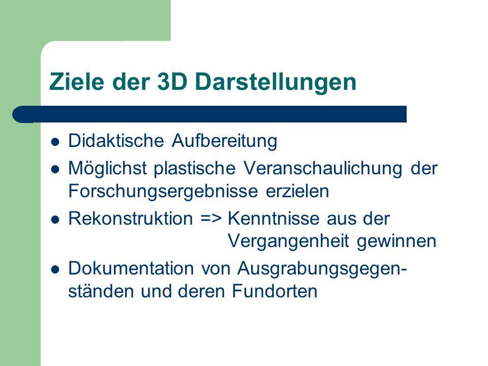 Ziele der 3D Darstellungen Didaktische Aufbereitung Möglichst plastische Veranschaulichung der Forschungsergebnisse erzielen Rekonstruktion => Kenntni