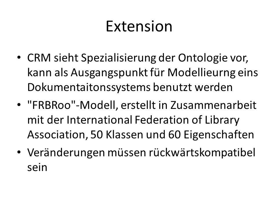 Extension CRM sieht Spezialisierung der Ontologie vor, kann als Ausgangspunkt für Modellieurng eins Dokumentaitonssystems benutzt werden FRBRoo -Modell, erstellt in Zusammenarbeit mit der International Federation of Library Association, 50 Klassen und 60 Eigenschaften Veränderungen müssen rückwärtskompatibel sein
