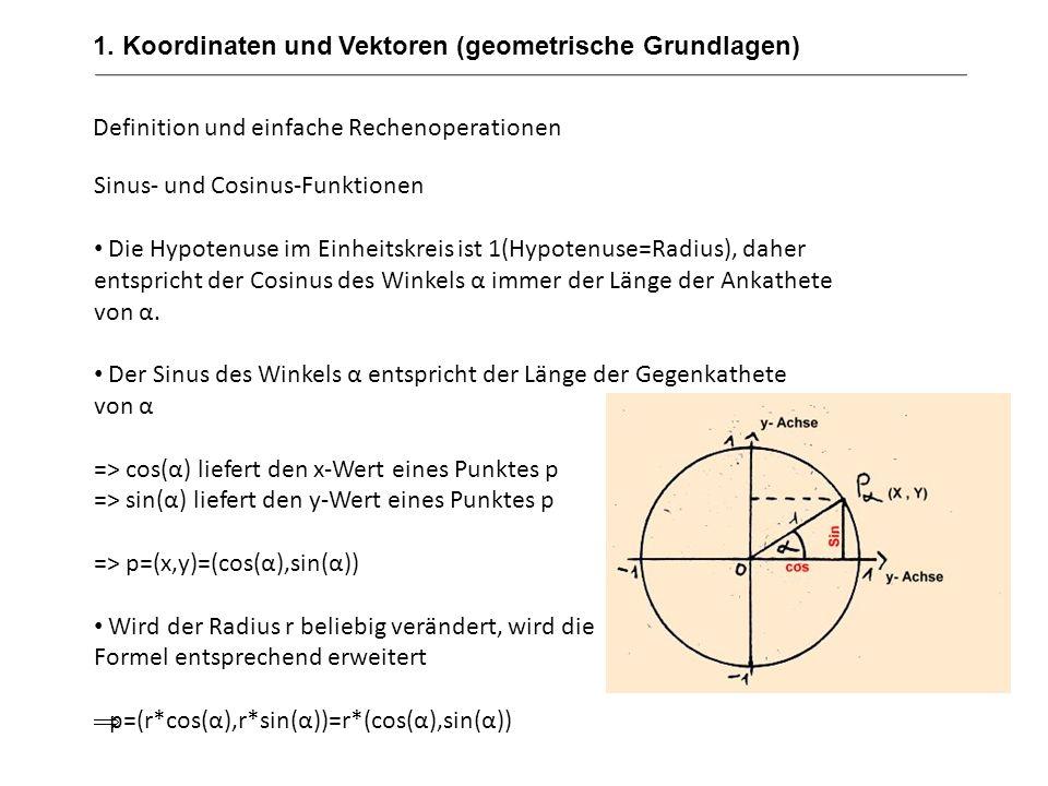 1. Koordinaten und Vektoren (geometrische Grundlagen) Definition und einfache Rechenoperationen Sinus- und Cosinus-Funktionen Die Hypotenuse im Einhei