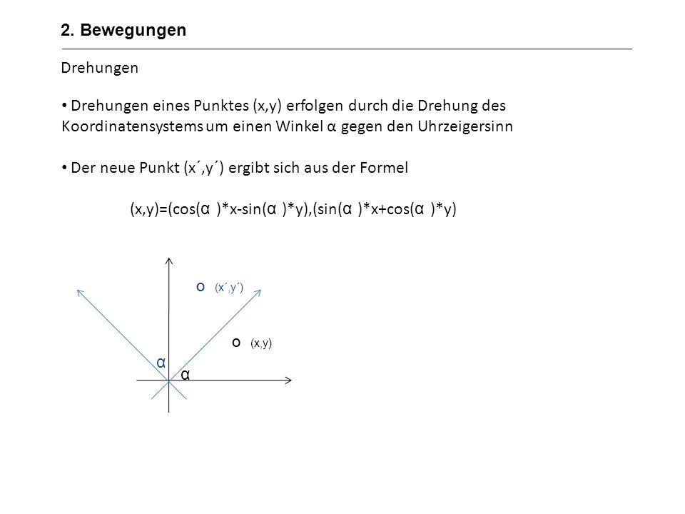 Skalierung (zoom in, zoom out) Skalierungen dienen der Vergrößerung und Verkleinerung von Objekten Berechnung erfolgt durch das Einsetzen eines Skalierungsfaktors in x- und y-Richtung Der zu skalierende Punkt wird zunächst in den Koordinatenursprung geschoben, gezoomt und in seinen Ausgangspunkt zurückverschoben Durch die Anwendung unterschiedlicher Faktoren in x- und y-Richtung erfolgt eine Verzerrung Negative Faktoren erzeugen eine Spiegelung Formel: x`=r*x y`=s*y (hier: r=s=2) (1,5;2) (2*1,5;2*2)=(3,4) 2.