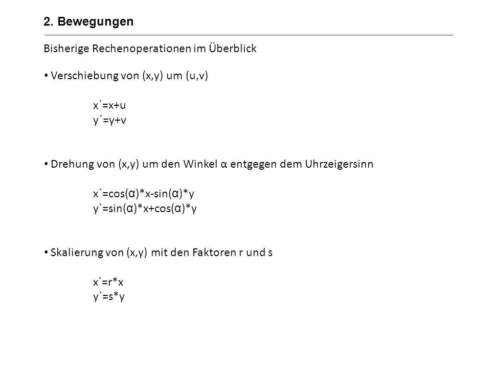 Bisherige Rechenoperationen im Überblick Verschiebung von (x,y) um (u,v) x´=x+u y´=y+v Drehung von (x,y) um den Winkel α entgegen dem Uhrzeigersinn x´