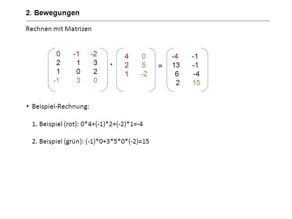 Rechnen mit Matrizen Beispiel-Rechnung: 1. Beispiel (rot): 0*4+(-1)*2+(-2)*1=-4 2. Beispiel (grün): (-1)*0+3*5*0*(-2)=15 0-1 -2 213 102 -130 40 25 1 -