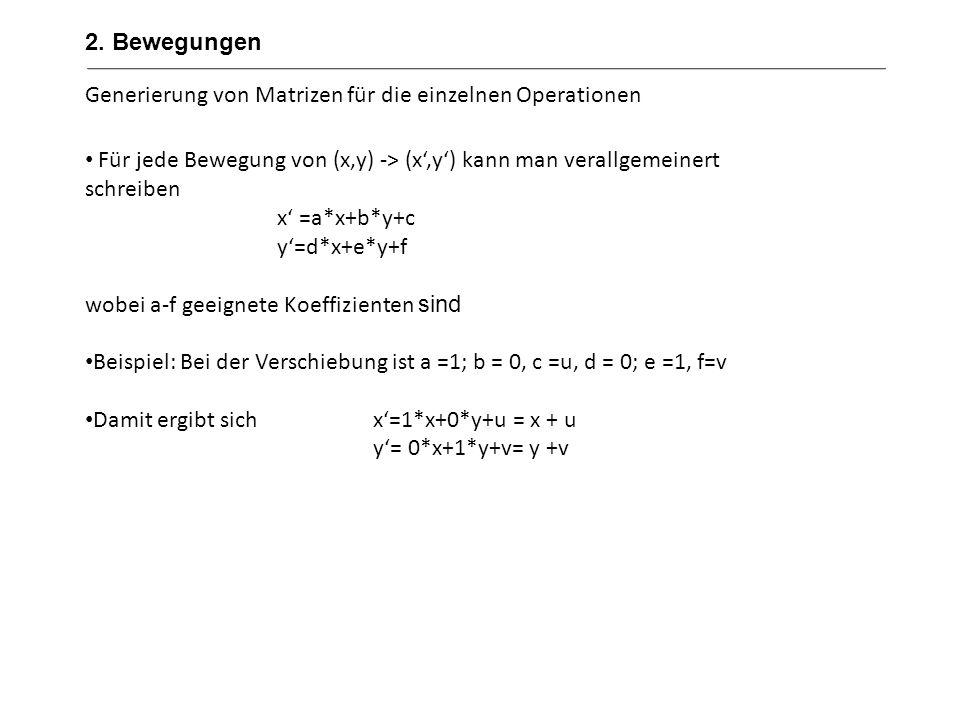 Generierung von Matrizen für die einzelnen Operationen Der Einfachheit halber ergänzen wir dieses System um eine Variable w (und die Koeffizienten g, h und i) w wird gleich 1 gesetzt und keine weiteren Rechenoperationen im 2-dimensionalen Raum mit dieser Variable durchgeführt Unser Gleichungssystem ist dann (x,y,w) -> (x´,y´,w´) x =a*x+b*y+c y=d*x+e*y+f w´=0*x+0*y+1*w Dies ermöglicht es uns jede Bewegung als 3x3 Matrix zu schreiben.