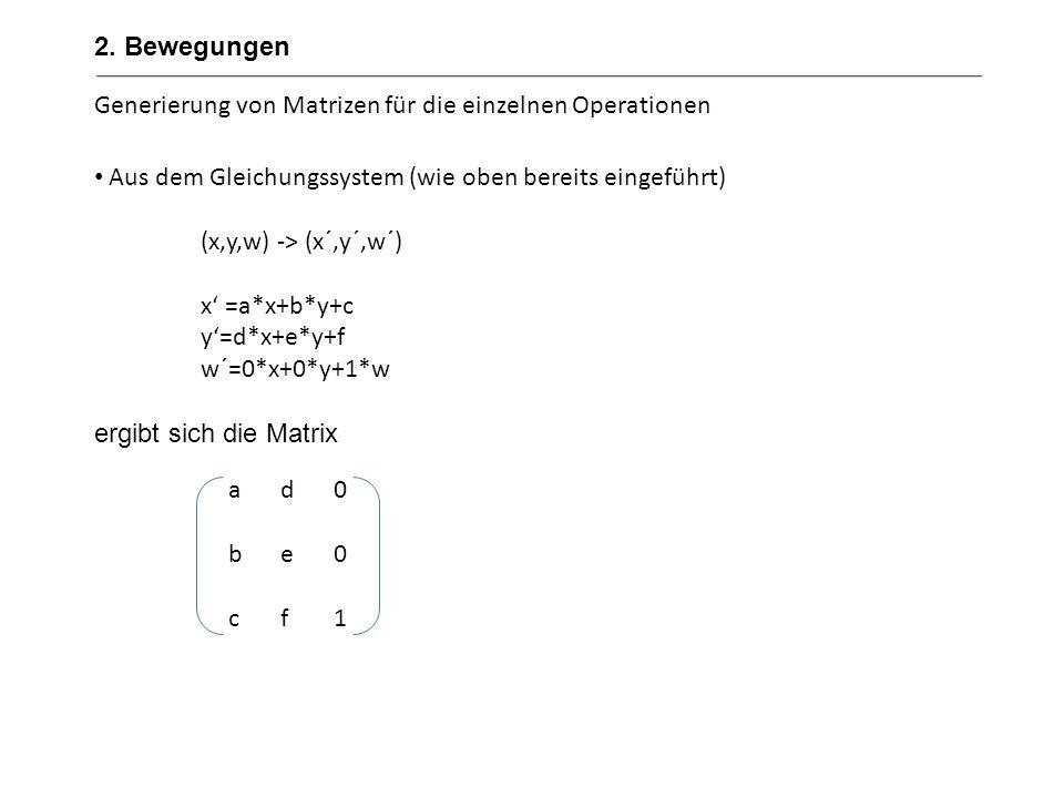 Erweiterung der bisherigen Rechenoperationen mit Matrizen Verschiebung von (x,y) um (u,v) x´=x+uals Matrix y´=y+v Drehung von (x,y) um den Winkel α entgegen dem Uhrzeigersinn x´=cos( α )*x-sin( α )*yals Matrix y`=sin( α )*x+cos( α )*y Skalierung von (x,y) mit den Faktoren r und s x`=r*xals Matrix y`=s*y 100010uv1100010uv1 cos(α) sin(α)0 -sin(α) cos(α) 0 001 r000s0001r000s0001 2.
