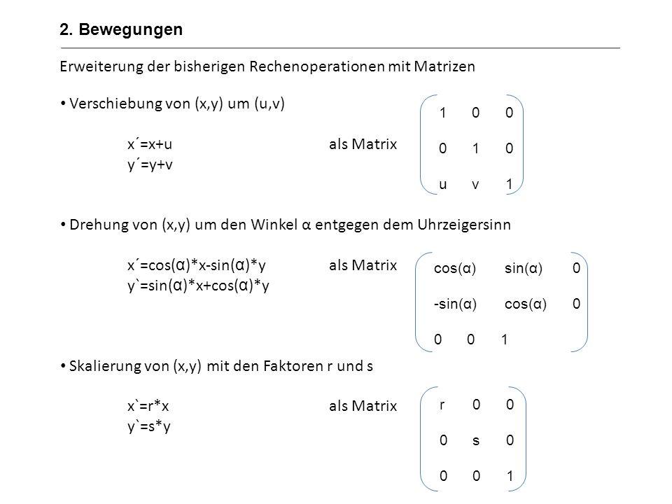Erweiterung der bisherigen Rechenoperationen mit Matrizen Verschiebung von (x,y) um (u,v) x´=x+uals Matrix y´=y+v Drehung von (x,y) um den Winkel α en