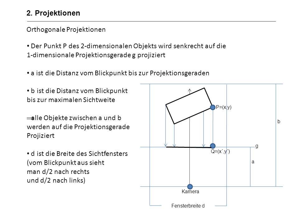 Orthogonale Projektionen Der Punkt P des 2-dimensionalen Objekts wird senkrecht auf die 1-dimensionale Projektionsgerade g projiziert a ist die Distan