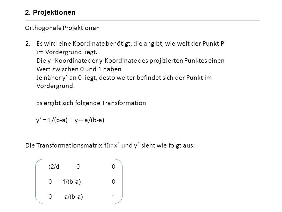 Perspektivische Projektionen 2. Projektionen Fensterbreite d Kamera a b Q=(x´,y´) P=(x,y) g