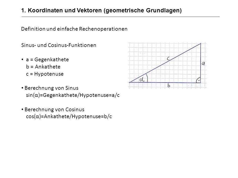 1. Koordinaten und Vektoren (geometrische Grundlagen) Definition und einfache Rechenoperationen Sinus- und Cosinus-Funktionen a = Gegenkathete b = Ank