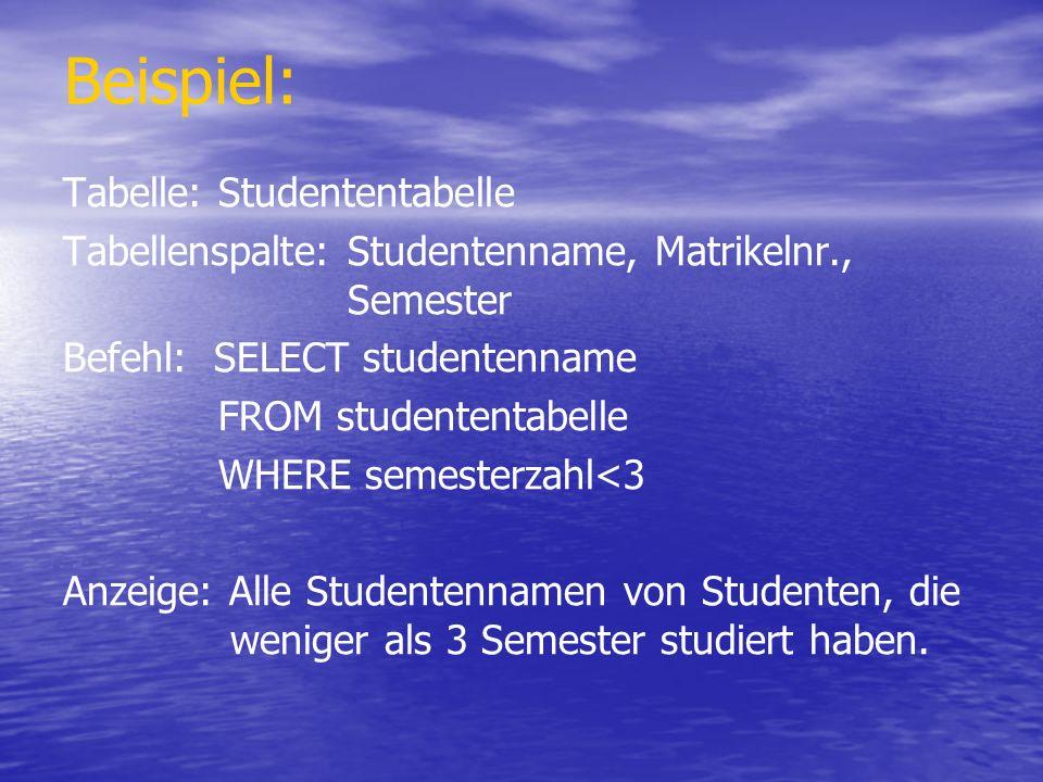 Beispiel: Tabelle: Studententabelle Tabellenspalte: Studentenname, Matrikelnr., Semester Befehl: SELECT studentenname FROM studententabelle WHERE seme