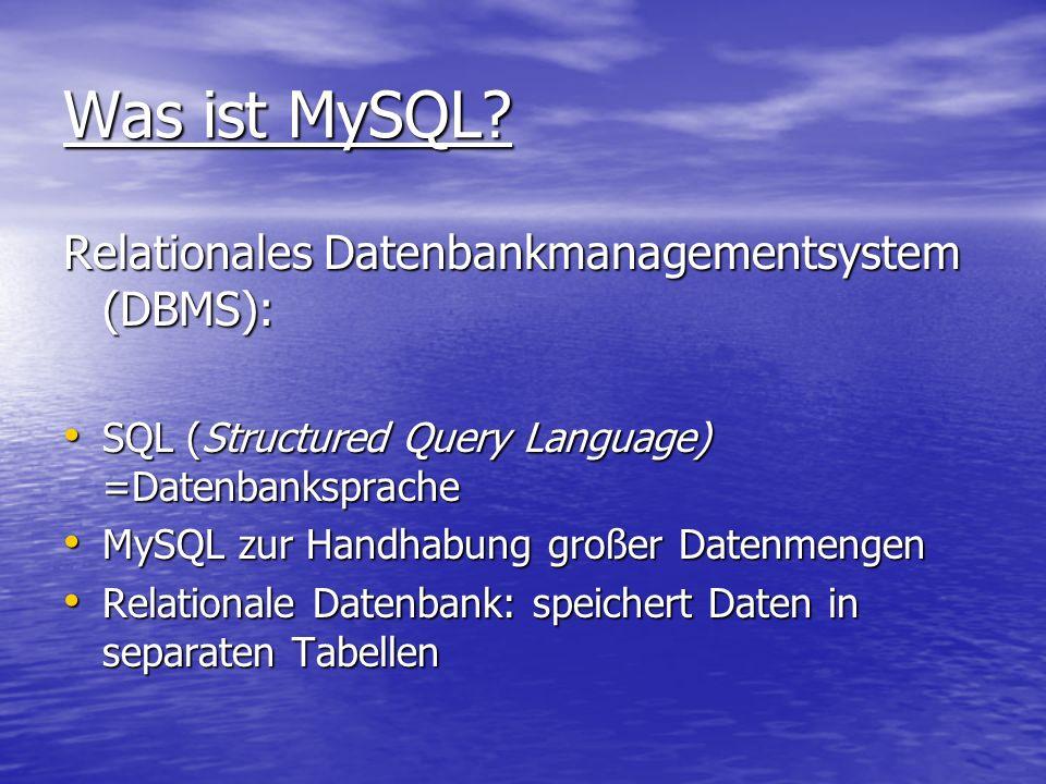 Relationale Datenbanken Sammlung von Tabellen, in welchen Datensätze abgespeichert sind.