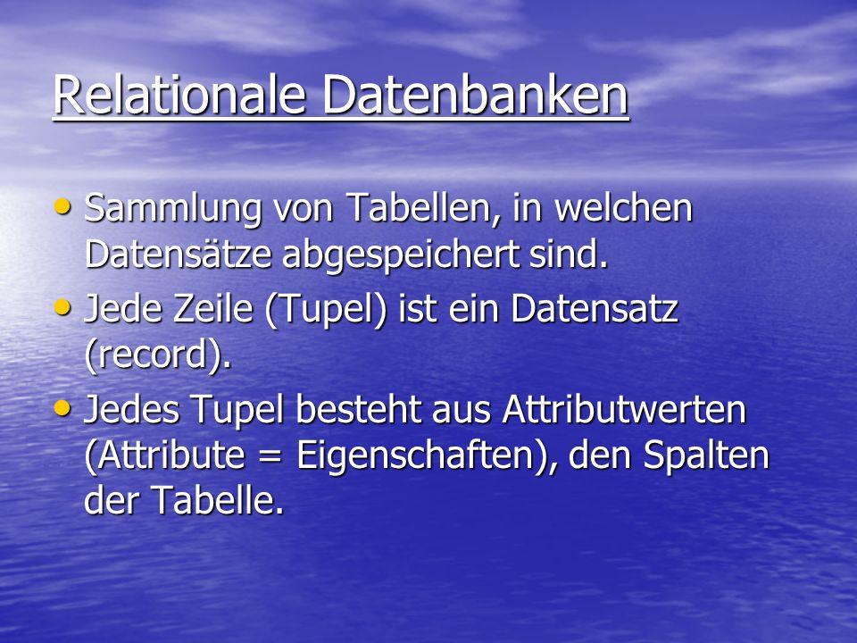 Relationale Datenbanken Sammlung von Tabellen, in welchen Datensätze abgespeichert sind. Sammlung von Tabellen, in welchen Datensätze abgespeichert si
