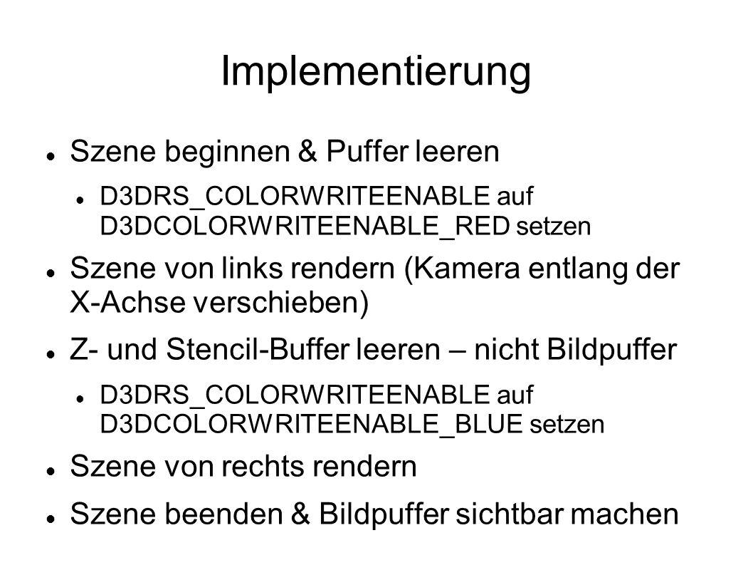 Implementierung Szene beginnen & Puffer leeren D3DRS_COLORWRITEENABLE auf D3DCOLORWRITEENABLE_RED setzen Szene von links rendern (Kamera entlang der X