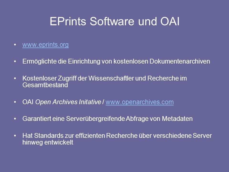EPrints Software und OAI www.eprints.org Ermöglichte die Einrichtung von kostenlosen Dokumentenarchiven Kostenloser Zugriff der Wissenschaftler und Re
