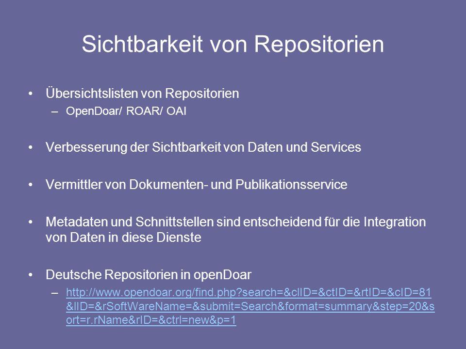 Sichtbarkeit von Repositorien Übersichtslisten von Repositorien –OpenDoar/ ROAR/ OAI Verbesserung der Sichtbarkeit von Daten und Services Vermittler v