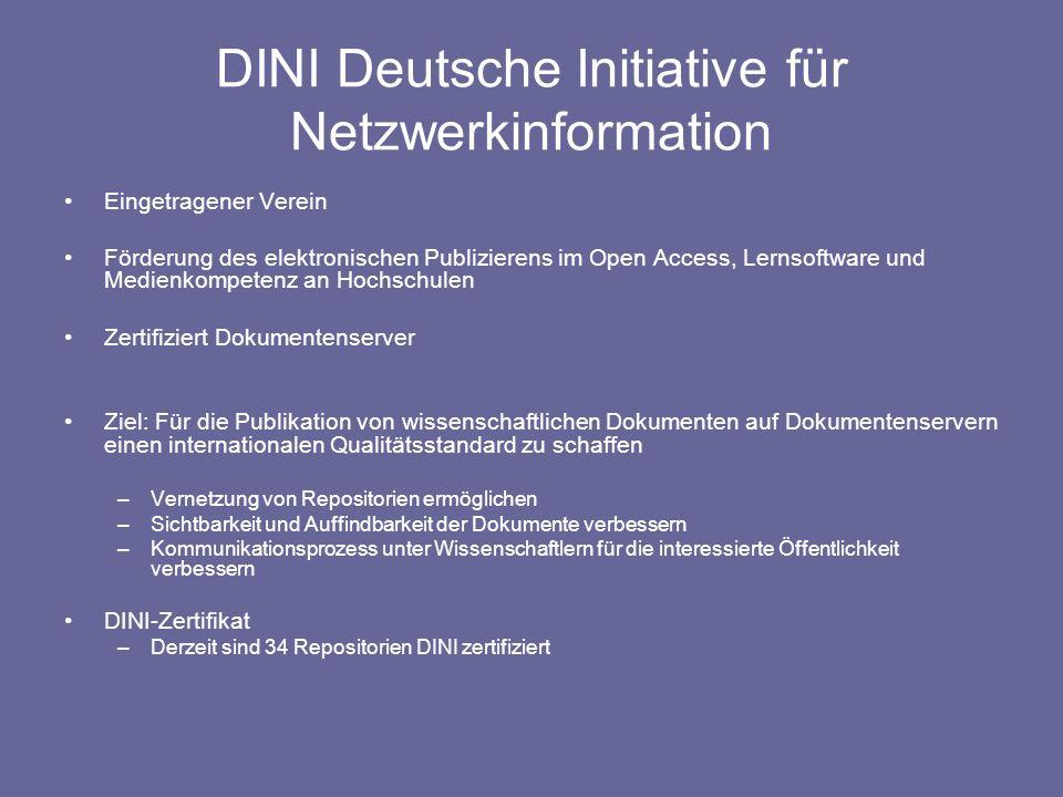 DINI Deutsche Initiative für Netzwerkinformation Eingetragener Verein Förderung des elektronischen Publizierens im Open Access, Lernsoftware und Medie