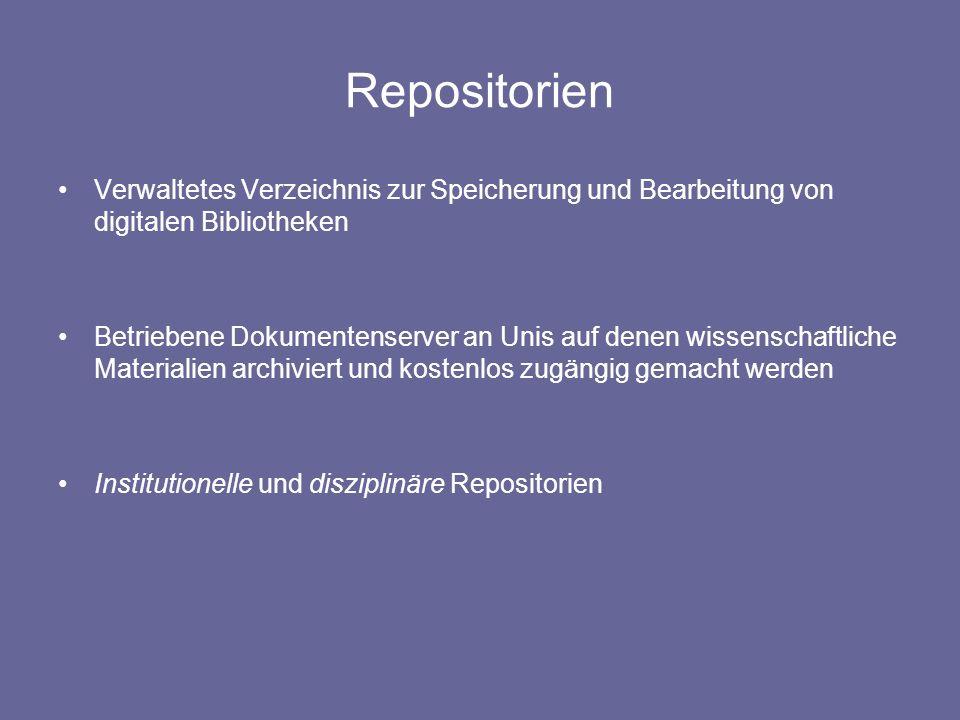 Institutionelle Repositorien Dokumentenserver werden meist durch Unibibliotheken oder Forschungsorganisationen betrieben Ermöglichen den Mitgliedern die digitale Publikation oder Archivierung http://kups.ub.uni-koeln.de/