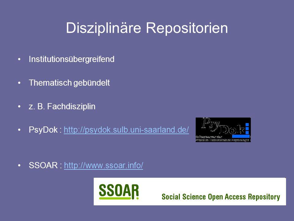 Disziplinäre Repositorien Institutionsübergreifend Thematisch gebündelt z. B. Fachdisziplin PsyDok : http://psydok.sulb.uni-saarland.de/http://psydok.