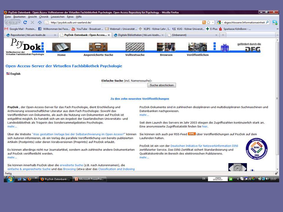 OAIster Beispiel für eine Suchmaschine Metadaten können einfach und übergreifend von verschiedenen Dokumentenservern durchsucht werden OAIster ist eine der wichtigsten Suchmaschinen für Open Access- Inhalte.