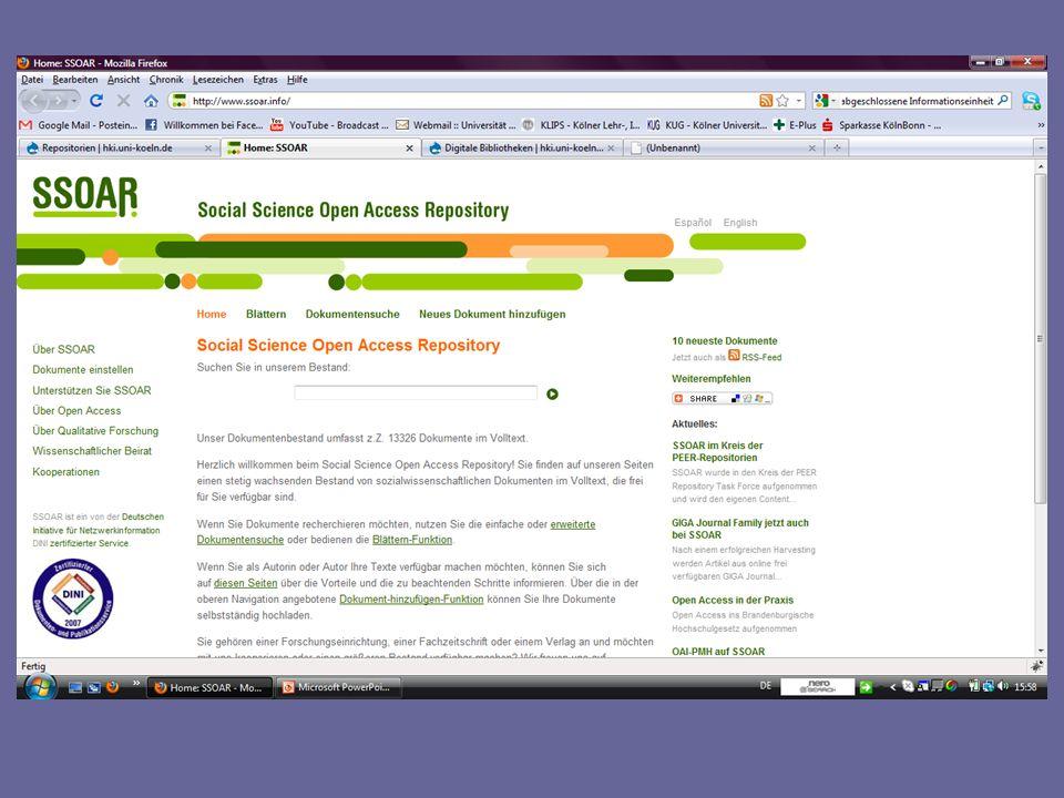OA-Netzwerk Projekt von DINI (2009-2011) Ziel: verstärkte Vernetzung von Repositorien- >inter/nationale Sichtbarkeit organisatorisch und technisch vernetzt sammelt in seiner Funktion als Aggregator Metdaten zu wissenschaftlichen Publikationen sämtlicher DINI- zertifizierter Repositorien http://oanetzwerk.wordpress.com/