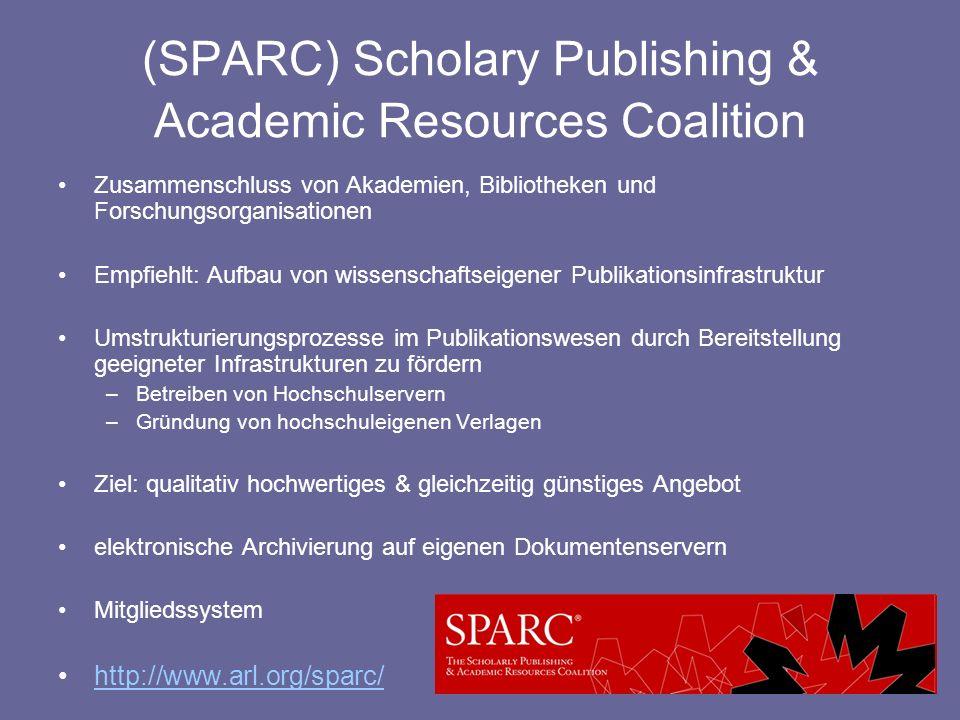 (SPARC) Scholary Publishing & Academic Resources Coalition Zusammenschluss von Akademien, Bibliotheken und Forschungsorganisationen Empfiehlt: Aufbau