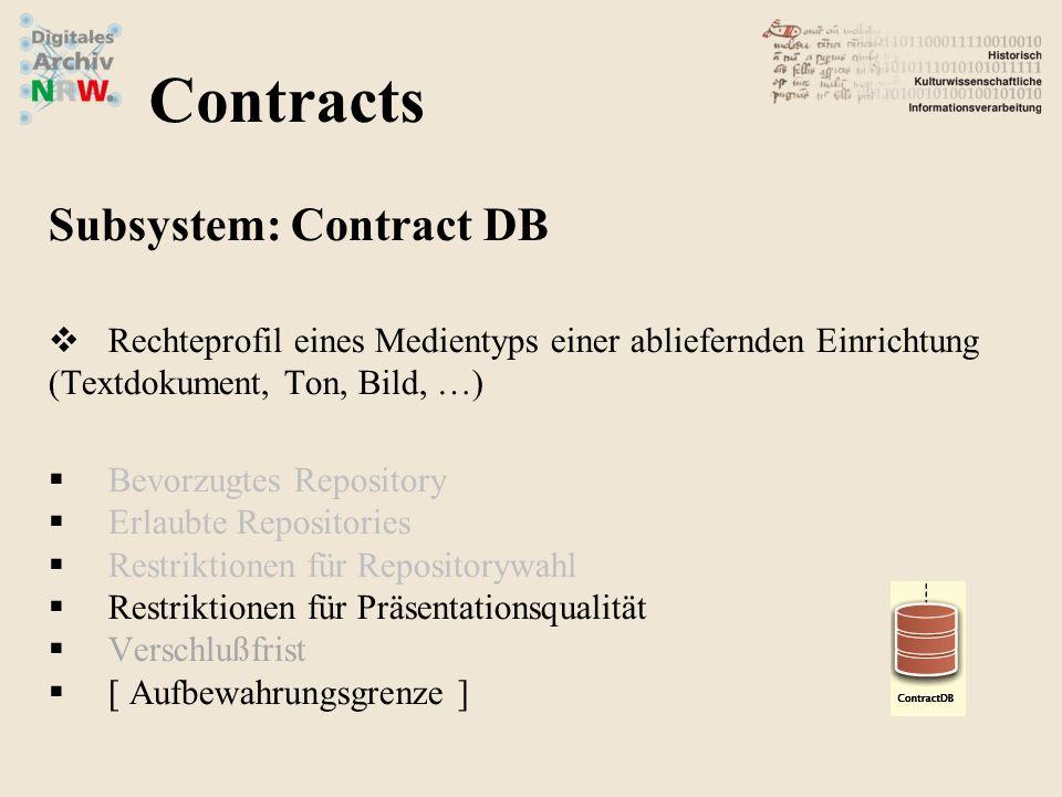 Subsystem: Contract DB Rechteprofil eines Medientyps einer abliefernden Einrichtung (Textdokument, Ton, Bild, …) Bevorzugtes Repository Erlaubte Repositories Restriktionen für Repositorywahl Restriktionen für Präsentationsqualität Verschlußfrist [ Aufbewahrungsgrenze ] Contracts