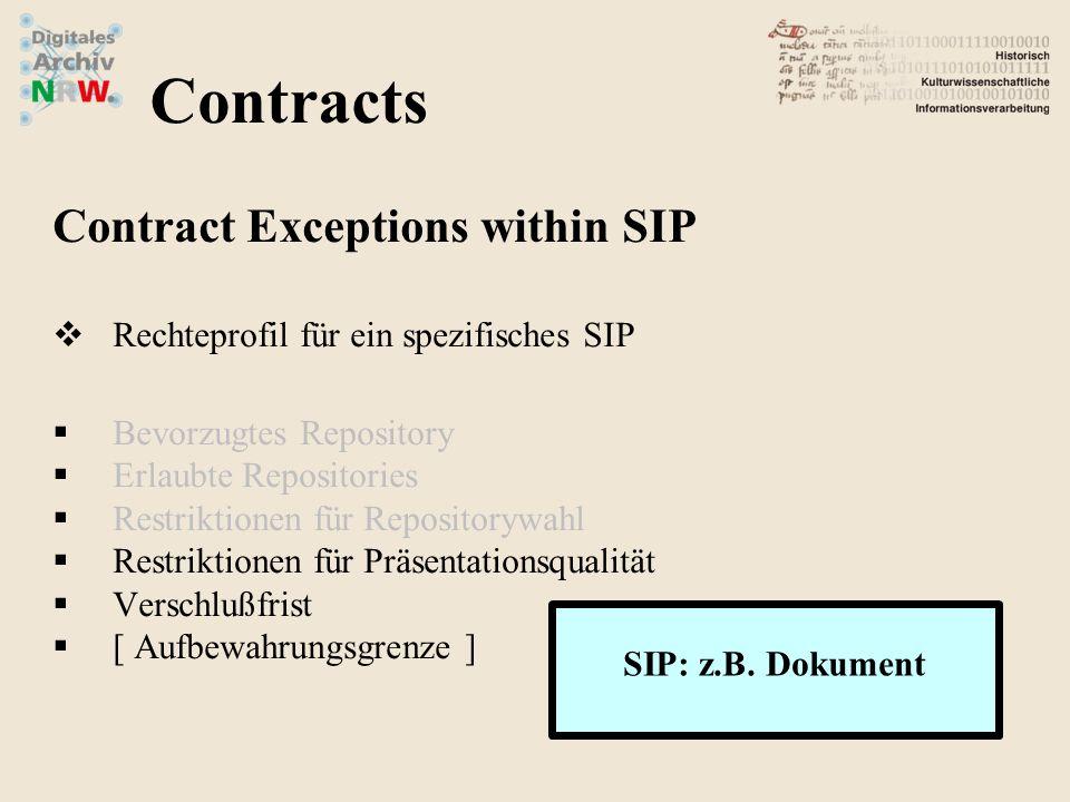 Contract Exceptions within SIP Rechteprofil für ein spezifisches SIP Bevorzugtes Repository Erlaubte Repositories Restriktionen für Repositorywahl Res
