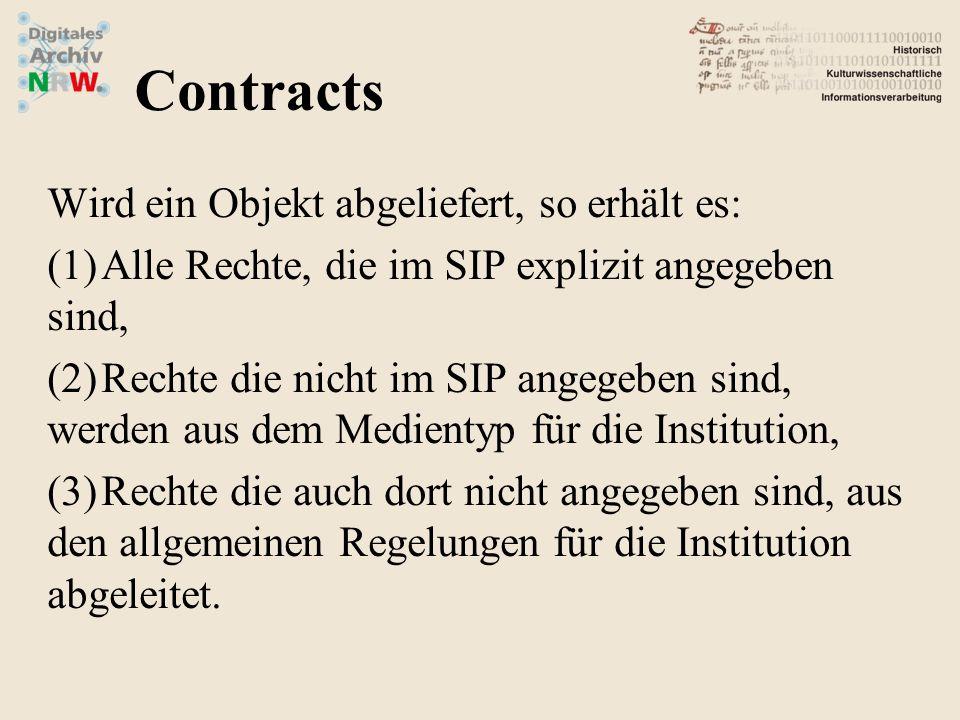 Wird ein Objekt abgeliefert, so erhält es: (1)Alle Rechte, die im SIP explizit angegeben sind, (2)Rechte die nicht im SIP angegeben sind, werden aus dem Medientyp für die Institution, (3)Rechte die auch dort nicht angegeben sind, aus den allgemeinen Regelungen für die Institution abgeleitet.