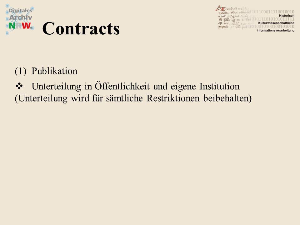 (1)Publikation Unterteilung in Öffentlichkeit und eigene Institution (Unterteilung wird für sämtliche Restriktionen beibehalten) Contracts