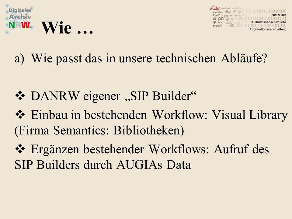 a)Wie passt das in unsere technischen Abläufe? DANRW eigener SIP Builder Einbau in bestehenden Workflow: Visual Library (Firma Semantics: Bibliotheken