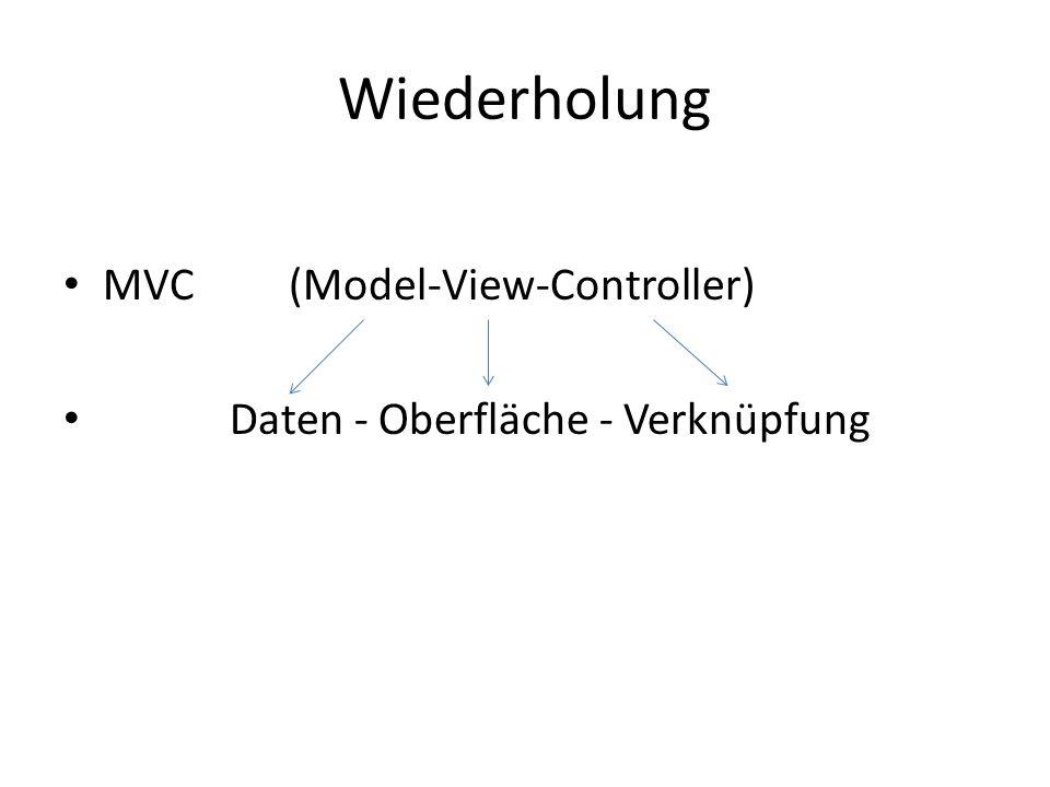 Wiederholung MVC (Model-View-Controller) Daten - Oberfläche - Verknüpfung