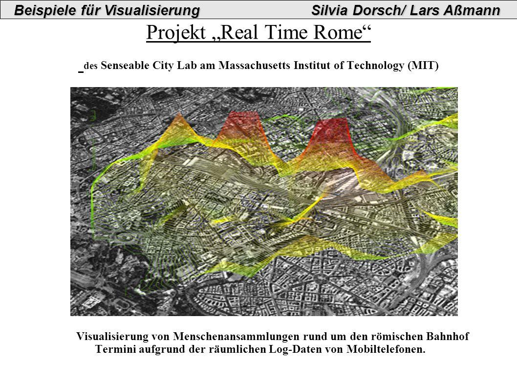 Projekt Real Time Rome des Senseable City Lab am Massachusetts Institut of Technology (MIT) Visualisierung von Menschenansammlungen rund um den römischen Bahnhof Termini aufgrund der räumlichen Log-Daten von Mobiltelefonen.