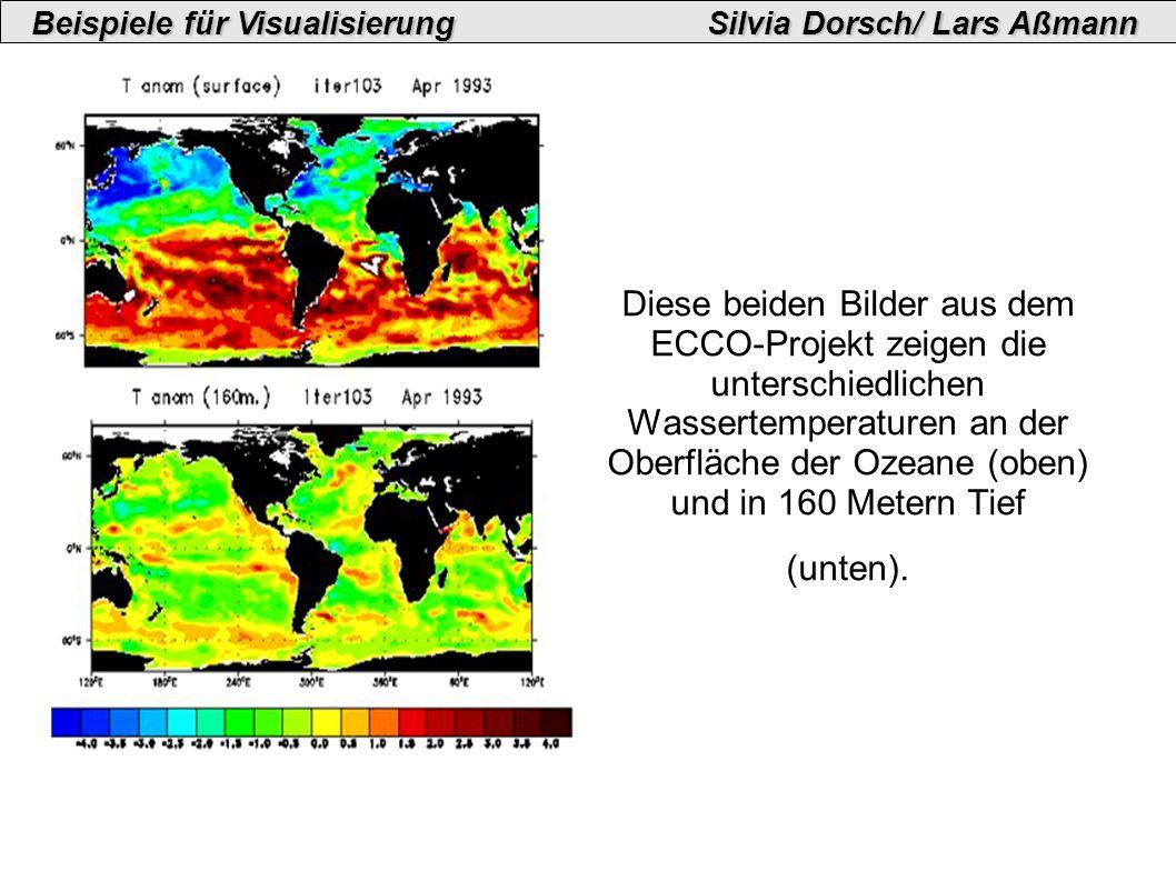 Diese beiden Bilder aus dem ECCO-Projekt zeigen die unterschiedlichen Wassertemperaturen an der Oberfläche der Ozeane (oben) und in 160 Metern Tief (unten).