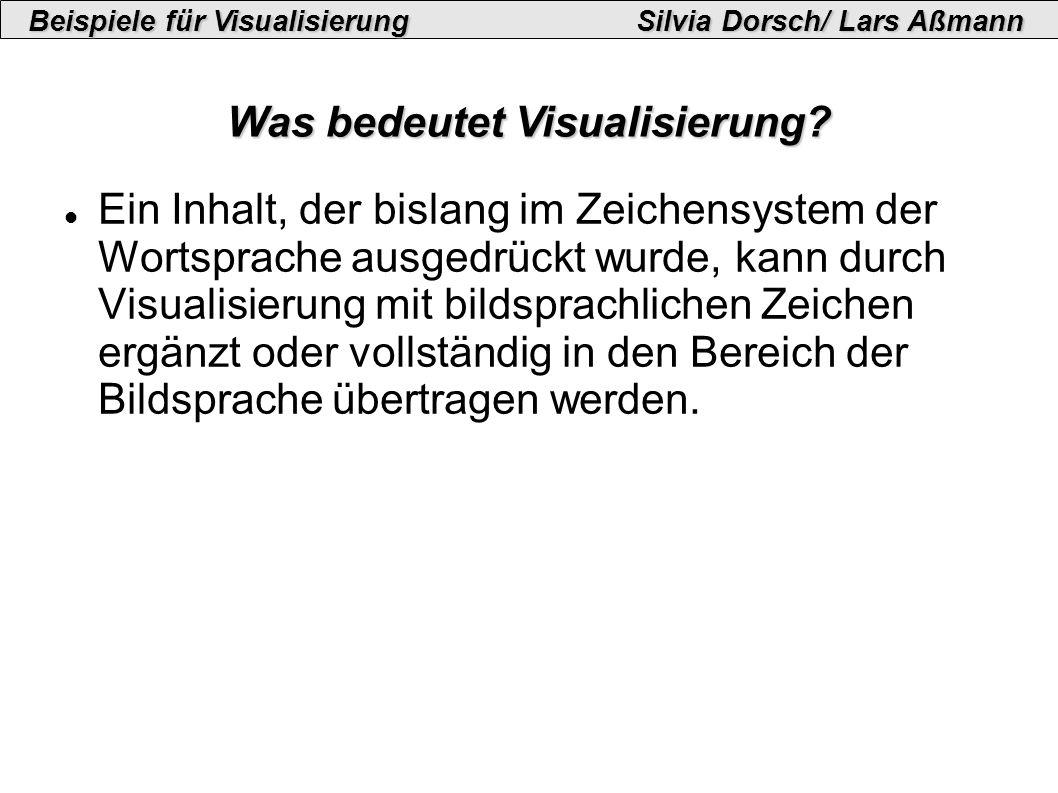 Beispiele für VisualisierungSilvia Dorsch/ Lars Aßmann Was bedeutet Visualisierung.