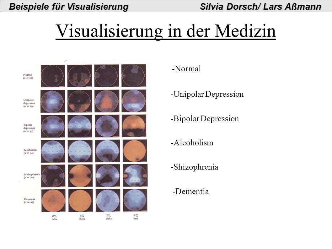 Visualisierung in der Medizin -Normal -Unipolar Depression -Bipolar Depression -Alcoholism -Shizophrenia -Dementia Beispiele für VisualisierungSilvia Dorsch/ Lars Aßmann